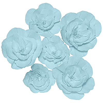 Paper Flowers Decorations for Wall 3D Crepe Flower Decor for Wedding Backdrop Baby Bridal Shower Party Nursery Anniversary Centerpiece Hanging/Handmade Wall Flowers Decorations