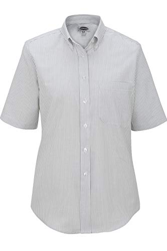 Edwards Women's Short Sleeve Dress Button Down Oxford, GREY STRIPE, 3XLarge