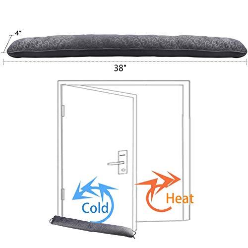 fowong Heavy Door Draft Stopper, 38 Inch Soundproof Under Door Sealer Energy Efficient Front Door Insulation Door Draft Guard Weatherproof Strip (Grey)