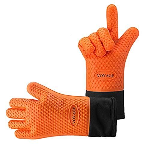 Voyage Premium Ofenhandschuhe (2er Set) bis zu 500 °C - Silikon Extrem Hitzebeständige Grillhandschuhe BBQ Handschuhe zum Kochen, Backen, Barbecue Isolation Pads für Extreme Sicherheit (Orange)