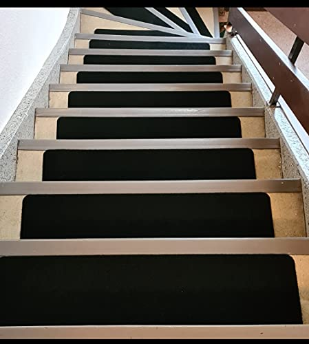 D L D Stair Treads Non-Slip Indoor Stair Runners for Wooden Steps, Anti-Slip Strips for Kids and Dogs 7-Pack (Black)