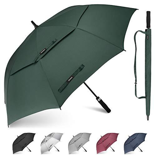 Gonex paraguas automático abierto de golf 62/68 pulgadas gran palo paraguas hombres mujeres a prueba de viento doble toldo, Negro, SPF 50+. (Negro) - Gonex-GXGN0720A