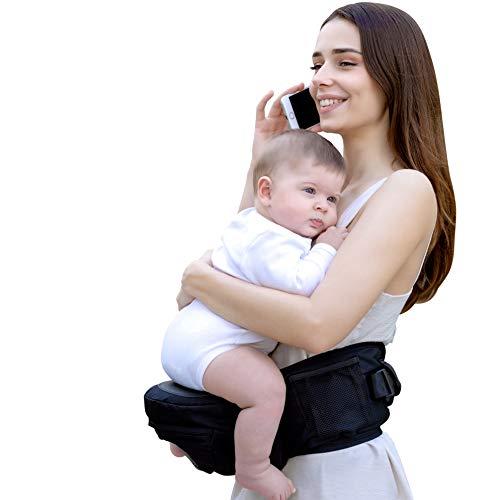 Smoothbaby® Hüftsitz Baby - Babytrage für 4 bis 36 Monate - Einstellbare Größe XS bis XXL - Baby Tragesystem Ergonomisch und Leicht - Hochwertige Qualität - Schwarz.