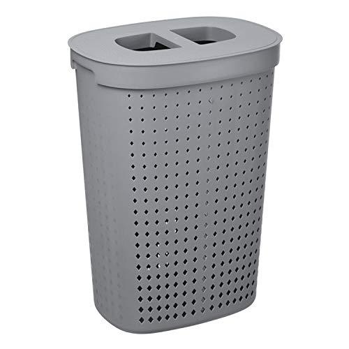 Plast Team Seoul Wäschekorb mit Deckel Oval Wäschebehälter Wäschesammler Aufbewahrungskorb Wäschetonne 61L (Grau)