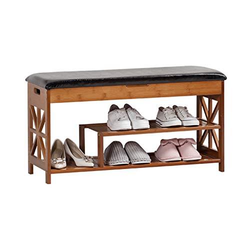 Couloir Range-chaussures Range-chaussures de rangement en bois massif pour bancs de chaussures avec meuble à chaussures à rabat en bambou avec housse de siège en PU noir - Accepte 7~9 paires de chau