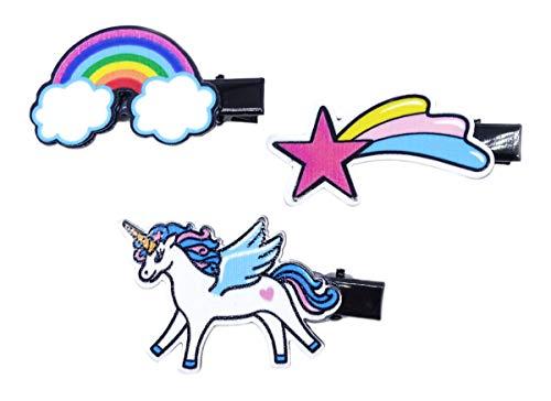 pak van 3 zwarte haarclip met geanimeerde motief eenhoorn vallende ster en regenboog