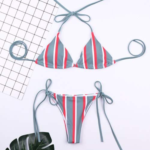 GUOZI Bikini Bikini Bikini Groen Navy Donker Navy Wind Streep Zwemkleding Vrouwen Nekband