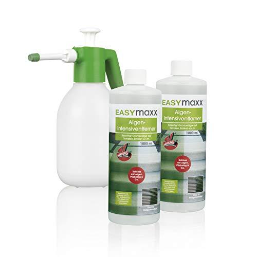 EASYmaxx Reinigungsmittel Algen/Flechten/Pilze 2er-Set (je 1000 ml) inkl. Drucksprüher