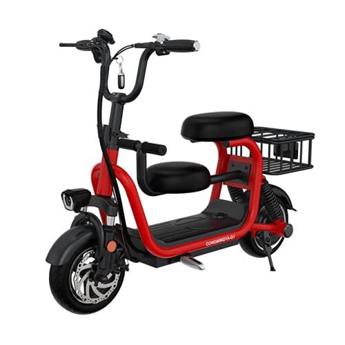 EWYI 3 Ruedas Scooter Eléctrico De Movilidad, Ligero Plegable Triciclo Eléctrico con Asiento para Niños Y Cesta De Almacenamiento, Silla De Ruedas Eléctrica para Adultos red-15AH/65KM