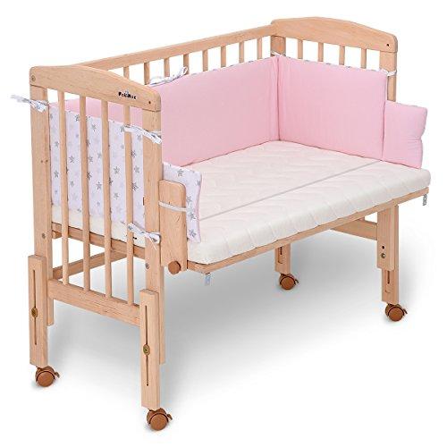 FabiMax Beistellbett PRO mit Matratze CLASSIC und Nestchen Sterne klein, rosa