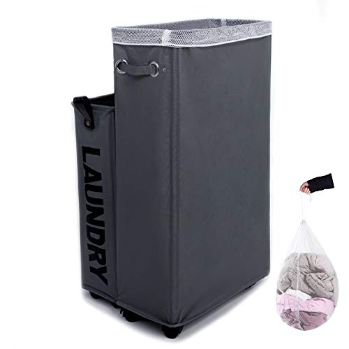 Laundry Hamper, Caroeas 27inch X-Large Rolling Laundry Basket Collapsible Tall Slim Laundry Hamper with Washable & Breathable Mesh Liner Waterproof & Dustproof Laundry Cart on Wheels (Grey)