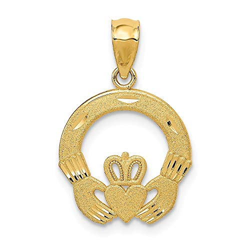 14k Yellow Gold Solid Satin Sparkle Cut Irish Claddagh Celtic Trinity Knot Charm Pendant Necklace Measures 28x14mm Jewelry Gifts for Women