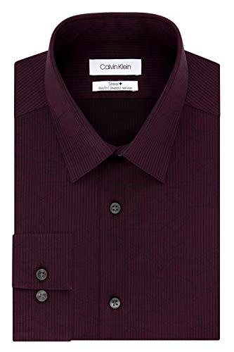 Calvin Klein Dress Shirt Non Iron Slim Fit Stretch Stripe Camisa de Vestir para Hombre