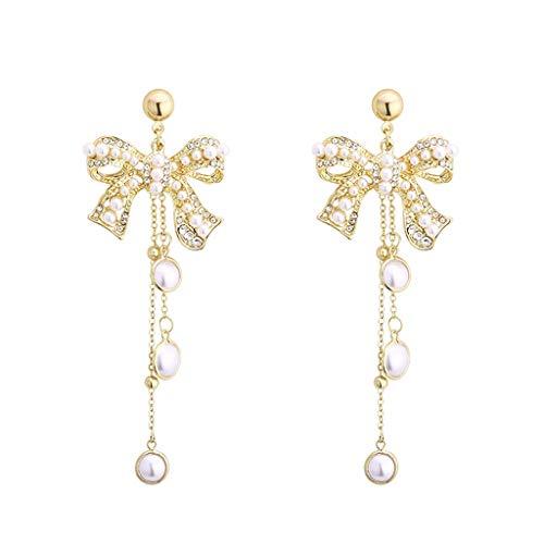 HMEI Pendientes de perlas de Bowknot Mujer Borla Pendientes Exagerada Personalidad Señoras Gota Pendientes Pendientes Moda Decoración