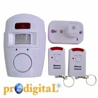 Allarme Antifurto in Blister con Sensore Sensibile a Raggio 110 Gradi e Sirena da 105 Db, Completo di 2 Telecomandi