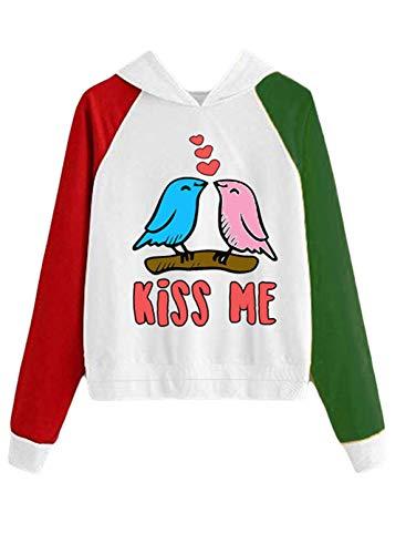"""CORAFRITZ Sudadera con capucha para mujer para el día de San Valentín, con diseño de letras de amor, con texto en inglés """"Kiss Me"""", ligera, con bloque de color"""