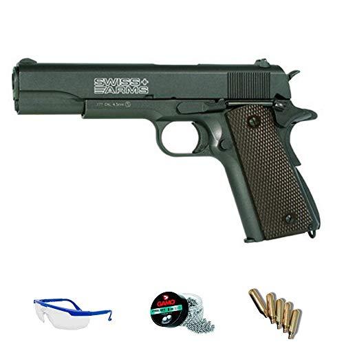 Swiss Arms P1911 blowback   Pack Pistola de Aire comprimido (CO2) Y balines de Acero (perdigones o Bolas BB's) Cal. 4.5mm. Réplica Tipo Colt <3,5 Julios