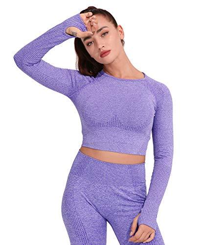Yaavii Damen Sport Laufshirt Longsleeve T-Shirts Bauchfrei Langarm Crop Top Fitness Oberteile Lila S
