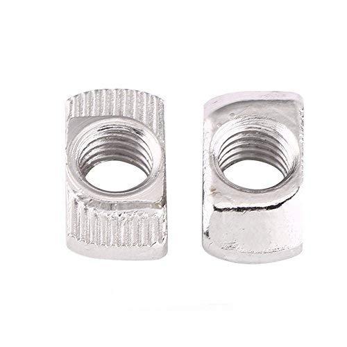 50 tuercas en T Winc chapados en acero al carbono, tornillos con cabeza de martillo para perfil de aluminio (EU40-M5*19.5*8)