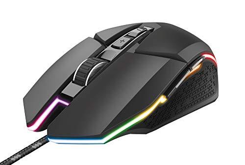 Trust Gaming GXT 950 Idon Programmierbare Gaming Maus (Mouse mit RGB-Beleuchtung, 500 bis 6000 DPI, 150 IPS, 7 Programmierbare Tasten) Schwarz
