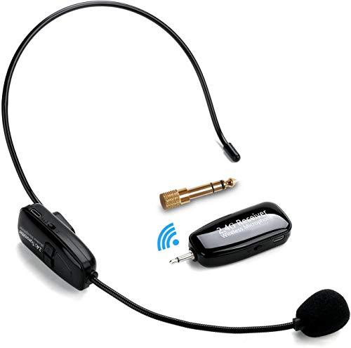 2.4G Kabelloses Mikrofon, Jelly Comb Wireless Headset Mikrofon Lautsprecher 2 in 1 Wiederaufladbar Speaker Microphone für Konferenzen, Unterricht, Reiseleiter