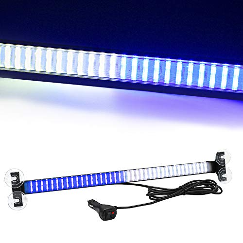 80 LED 13 Flash Patterns High Intensity Emergency Law Enforcement Vehicles Truck Warning Traffic Advisor Blue White Strobe Deck Light Bar Fit for Interior Roof Windshield with 4 Suction Cups