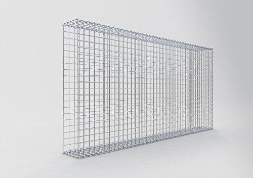 GABIONA Steinkorb-Gabione eckig, Maschenweite 5 x 5 cm, Tiefe 20 cm, Anbau-Korb Typ 2, Spiralverschluss, galvanisch verzinkt (200 x 100 x 20 cm)