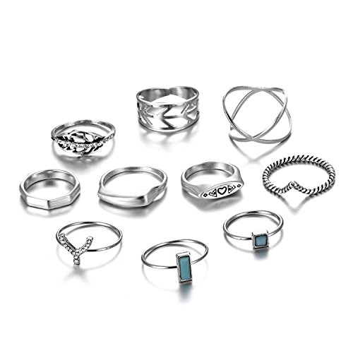 RINHOO FRIENDSHIP 10PCS Bohemian Retro Vintage Crystal Joint Knuckle Ring Sets Finger Rings (Punk)