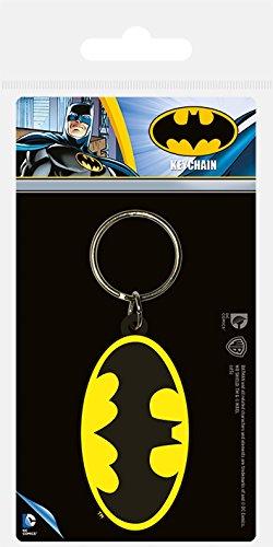 Pyramid International DC Comics Porte-clés en caoutchouc avec symbole Batman Noir/jaune 4 x 6 x 1,3 cm