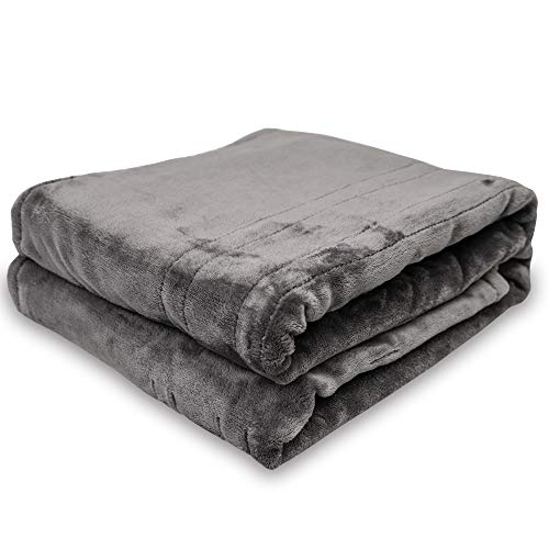 "Electric Throw Heated Blanket Full,50"" x 60"" Double-Layer Flannel with 4 Heating Settings, 4 Hours Auto Off, Machine Washable,Grey"