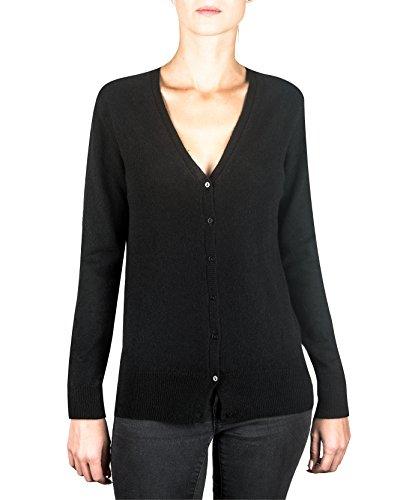 CASH-MERE.CH 100% Kaschmir Damen Pullover Cardigan V-Ausschnitt | Strickjacke V-Ausschnitt 2-fädig (Schwarz, M)