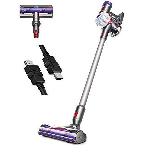 Premium Dyson V7 Allergy HEPA Cordless Stick Vacuum Cleaner: Bagless Ergonomic, Telescopic Handle, Rechargeable, Carpet/Edge Cleaning, Height Adjustable Battery Operated White + iCarp HDMI Cable