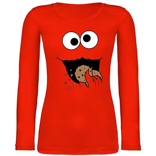 Karneval & Fasching - Keks-Monster - XL - Feuerrot - Faschings t-Shirt Damen - BCTW071 - Langarmshirt Damen