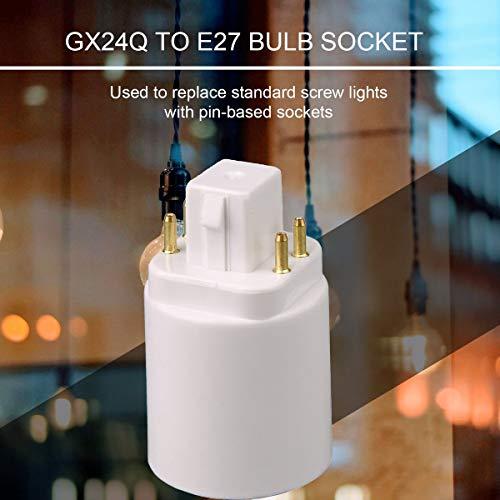 Greatangle LED-Lichtlampenadapter GX24Q auf E27 Lampenfassung Sockelkonverter 4-poliger schraubenbasierter Lampenverlängerungs-Sockel weiß 4-polig
