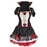 Emmas Wardrobe Disfraz Reina de Corazones Mujer | Negro y Rojo Vestido, Chaqueta con Cuello y Diadema | Tamano 36-46 | Traje de Alice para la Mujer para Halloween, Fiestas de té (L 38-40)
