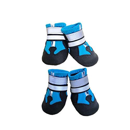 Leeko Dog Boots, Anti-Slip Pet Dog Shoes Set of 4 Waterproof Dog Shoes for Small Medium Large Dog Outdoor, Blue, L