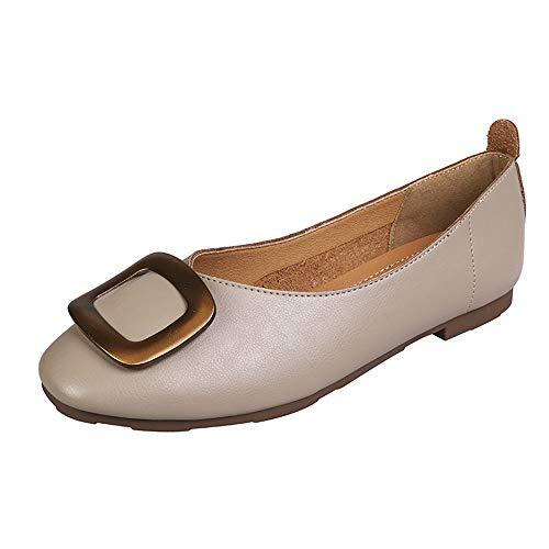 LYXIANG Zapatos Dolly para Mujer, Bailarines Zapatos De Unión De Punta De Punta Plana con Hebilla Cuadrada De Fondo Suave Y Solado Suave. Zapatos De Abuelita Boca Superficial,A,34