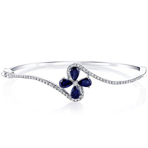 Created Blue Sapphire Petal Bangle Bracelet Sterling Silver Tear Drop 2 Carats