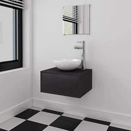 FAMIROSA Conjunto de Mueble y Lavabo 3 Piezas Negro