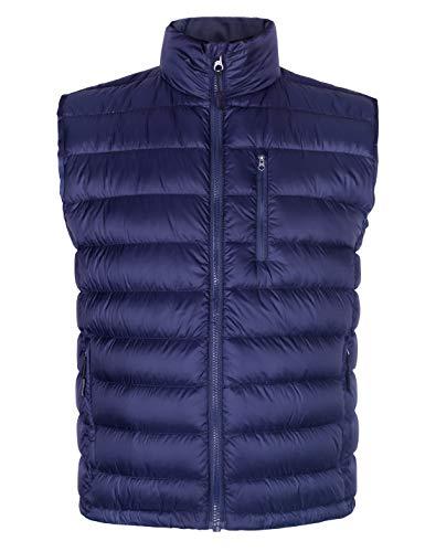 Men's Lightweight Packable Down Vest Puffer Casual Stand Collar Winter Outwear Sleeveless Jacket Navy Blue XXXXL