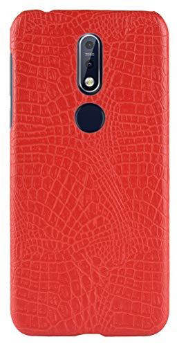 CHENXI Capa Para Nokia 7.1,Capa Protetora de PC Rígido Anti Derrapante com Padrão de Crocodilo Ultrafina Adequada Case Cover Para Nokia 7.1 -Vermelho