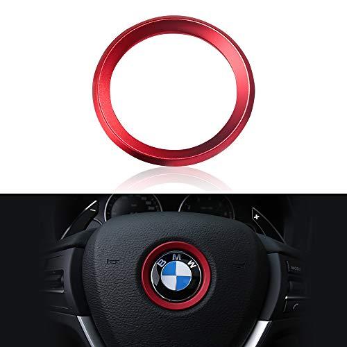 VDARK BMW Zubehör Teile Lenkrad Logo Caps Abdeckungen Abziehbilder Lenkrad Dekoration für alle BMW Bling Innen Aufkleber Visiere Dekorationen BMW 1 3er Reihe 5 Serie 6 7 X1 X3 X5 X6 Silber Rot