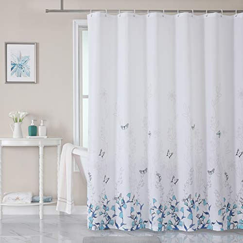 LJEHUTCME Green and Blue Shower Curtain Tropical Leaves Water Resistant Bathroom Curtain Polyester Fabric Bath Curtain with 12pcs Hooks 72 x 72