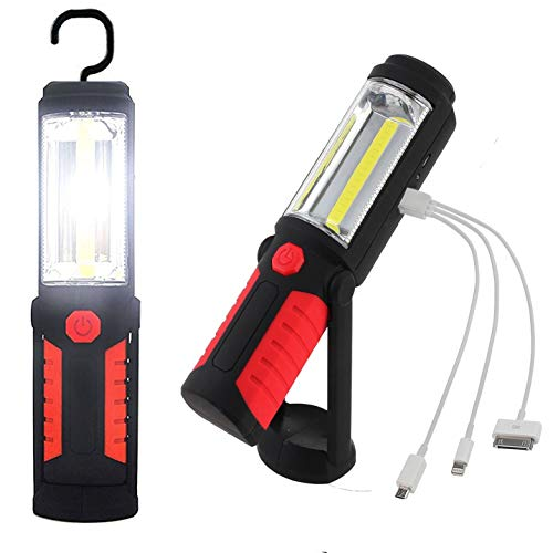 Emergencies LED Work Light USB Rechargeable Super Bright Solar Energy COB Work Light for Car Repairing Outdoor Camping COB Inspection Lamp with Magnetic Base and Hook