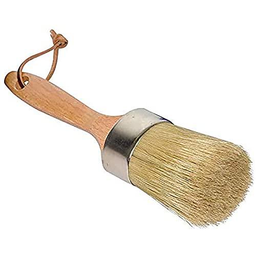 ANCLLO Pincel redondo 2 en 1 de tiza y cera, para pintar o encerar, hecho a mano con cerdas naturales y mango ergonómico, cera oscura o transparente, decoración del hogar, madera