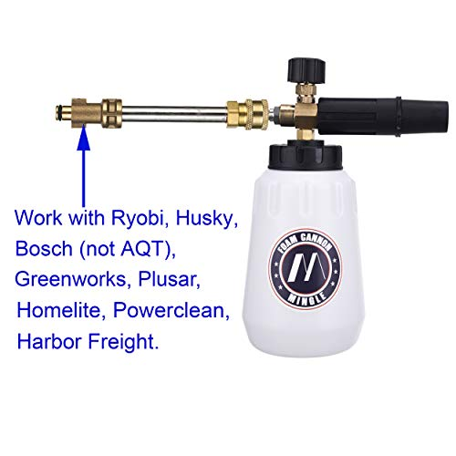 M MINGLE Foam Cannon, Replacement Parts for Bosch (Not AQT), Husky and Ryobi Pressure Washer, with 5 Nozzle Tips, 1/4 Inch Quick Connector