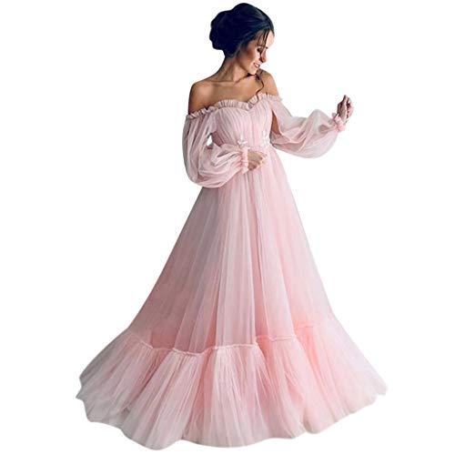 Damen Maxi Kleider,KUDICO Off Shoulder Lang Tüll Brautkleider,Frauen Liebsten Formellen Abendkleider Elegant für Hochzeit Ballkleid Festkleider(Rosa, M)