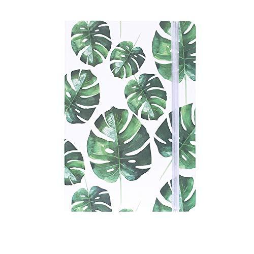 A5ゴムバンドハードカバーエグゼクティブノート罫線入りストラップノート, Tropical Plants 4,Monstera