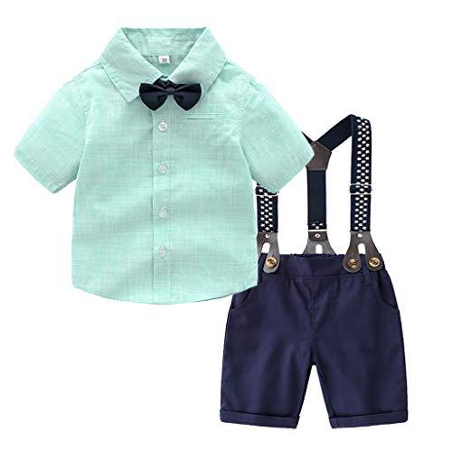 TTLOVE Kleinkind Baby Boy Bekleidung Gentleman Fliege T-Shirt Tops + Sterne Shorts Overalls Outfits Anzug Jungen Festliche Taufe Hochzeit FüR FrüHling Und Herbst (Grün,80)
