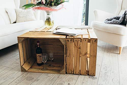 Gebrauchte Holzkisten im Set Angebot: Originale Vintage Obstkisten zum Möbelbau od. als Dekoration, sehr stabile Apfelkisten, geprüft und gereinigt 50x40x30 cm (6er Set) - 3